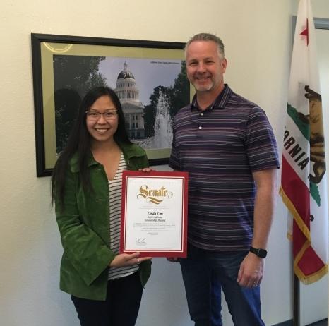 Senator Cannella and ACEC California Scholarship Award Winner Linda Lim